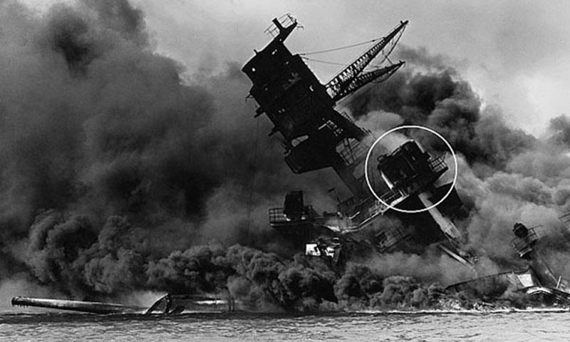 Smoke billows from a doomed USS Arizona after being bombed Dec. 7, 1941. Circled is Donald Stratton's battle station, the port-side antiaircraft director. (National Park Service/USS Arizona Memorial)