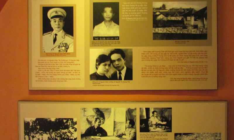 "A display on the second floor of the ""Hanoi Hilton"" museum shows Vietnamese war heroes. This one shows General Vo Nguyen Giap, widely considered the architect of communist Vietnamese military victories against the French and Americans. (Photo by Paul Alexander/Stars and Stripes)"
