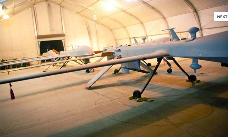 MQ-1B Predators are seen at Kandahar Air Field, Afghanistan, in July 2011. The Air Force wants to vastly expand its drone program over the next five years by doubling the number of pilots and deploying them to bases in California and elsewhere to give commanders better intelligence and more firepower. (David Carbajal/U.S. Air Force)