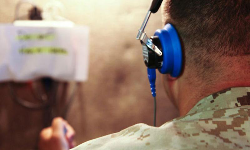 In a 2011 file photo, a Marine takes the annual audiogram test on Camp Pendleton, Calif. (U.S. Marines)