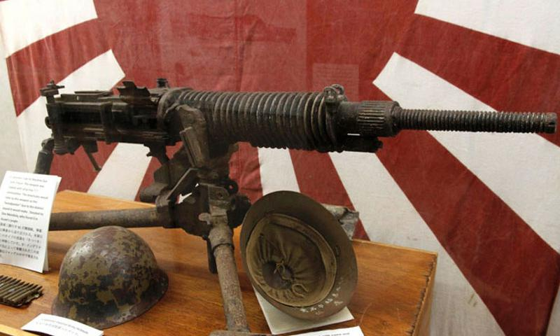 "A Japanese Type 92 machine gun, dubbed the ""woodpecker"" by American troops because of its distinct sound, is among the relics displayed at the Pacific War Museum in Guam. (Wyatt Olson/Stars and Stripes)"