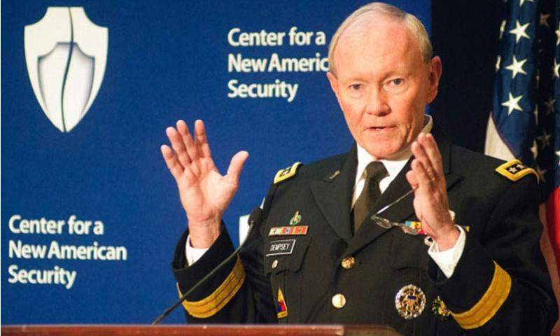 Gen. Martin Dempsey, Chairman of the Joint Chiefs of Staff, speaks at a forum in Washington, D.C., on Nov. 20, 2014. In a letter to Congress, Dempsey encouraged leaders of the House and Senate Armed Services committees to make a comprehensive effort at reforming compensation for troops, rather than a piecemeal approach, such as solely targeting pensions for generals and admirals. (Carlos Bongioanni/Stars and Stripes)