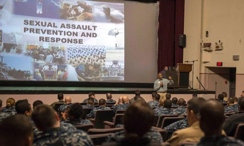 In a November, 2015 file photo, NAF Atsugi Sexual Assault Response Coordinator Frank Hawkins presents training on sexual assault awareness and response in the installation theater (Ryan G. Greene/U.S. Navy)