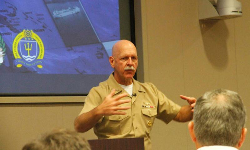 Adm. Scott Swift, the U.S. Pacific Fleet commander, answers a question at the Cooperative Strategy Forum Cooperative Strategy Forum held at the Asia Pacific Center for Security Studies in Honolulu, Monday, Dec. 14, 2015. China's militarization of disputed islands in the South China Sea won't alter operations for the U.S. Pacific Fleet, he said. (Wyatt Olson/Stars and Stripes)