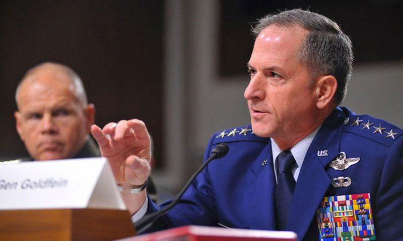 Air Force Chief of Staff Gen. David Goldfein testifies before the Senate Armed Services Committee on Capitol Hill in Washington, D.C., on Thursday, Sept. 15, 2016. Looking on is Marine Corps Commandant Gen. Robert Neller. (Carlos Bongioanni/Stars and Stripes)