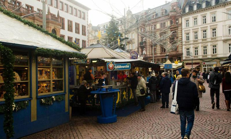 There are relatively few visitors to the Wiesbaden, Germany, Christmas market in the morning of Tuesday, Dec. 22, 2015. But the the market tends to get crowded in the evening. Wiesbaden is home to U.S. Army Europe's headquarters. The military in Europe cautioned members of the U.S. military community to be extra vigilant in public areas over the holidays. (Dan Stoutamire/Stars and Stripes)