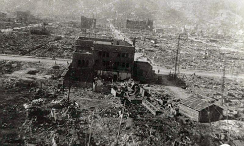 A broad view of a portion of Hiroshima, Japan, is seen after a uranium-238 atomic bomb dubbed 'Little Boy' was dropped on the city Aug. 6, 1945. (USAMHI via U.S. Army)
