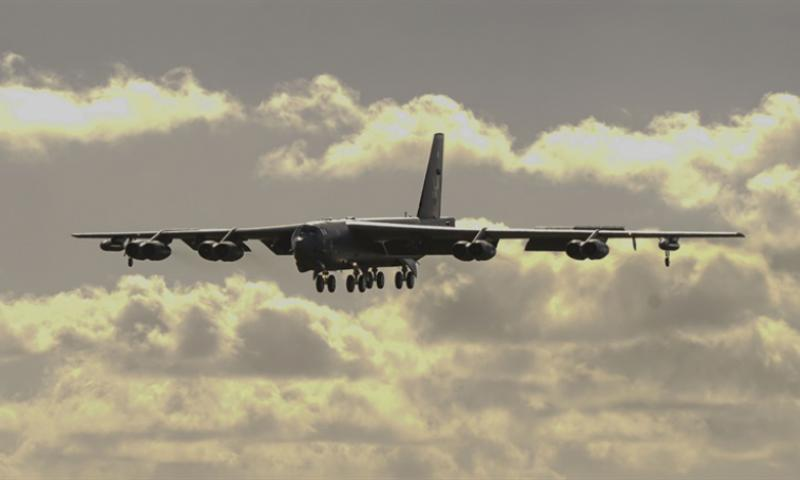 A B-52H Stratofortress bomber prepares to land at Andersen Air Force Base, Guam, Jan. 16, 2018. The Stratofortress is one of six B-52H Stratofortress bombers and approximately 300 Airmen from Barksdale AFB, La., deploying to Andersen AFB, Guam, in support of U.S. Pacific Command's Continuous Bomber Presence mission. (U.S. Air Force photo by Tech. Sgt. Richard P. Ebensberger)