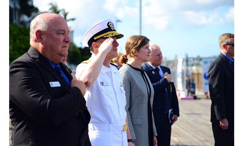 BRISBANE, Australia (March 14, 2018) Vice Adm. Phil Sawyer, commander of U.S. 7th Fleet, and U.S. Consul General Valerie Fowler prepare to lay a wreath at the Submariners Walk Heritage Trail, where the U.S. Navy's Task Force 42/72 was located during World War II. Sawyer is visiting Brisbane in conjunction with the 75th anniversary of 7th Fleet's establishment here on March 15, 1943.