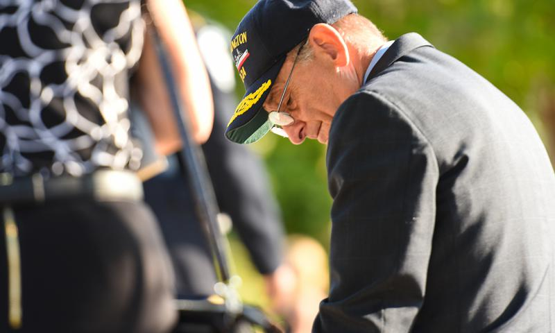 Herb Wolk sits on the bench dedicated to the memory of his son-in-law, Navy Lt. Darin Pontell, Sunday morning on the 15th anniversary of the Sept. 11, 2001 terrorist attacks. Pontell was among the 184 killed when a plane struck the Pentagon that morning.
