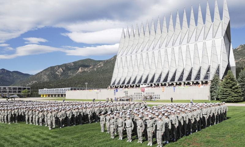 Cadets stand in formation at the Air Force Academy in Colorado.  U.S. Air Force