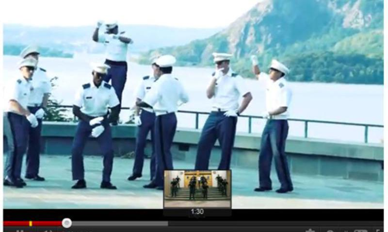 "From the U.S. Naval Academy to West Point to bases in Afghanistan, parodies of the Korean pop song ""Gangnam Style,"" like this image from YouTube, has quickly become military style."