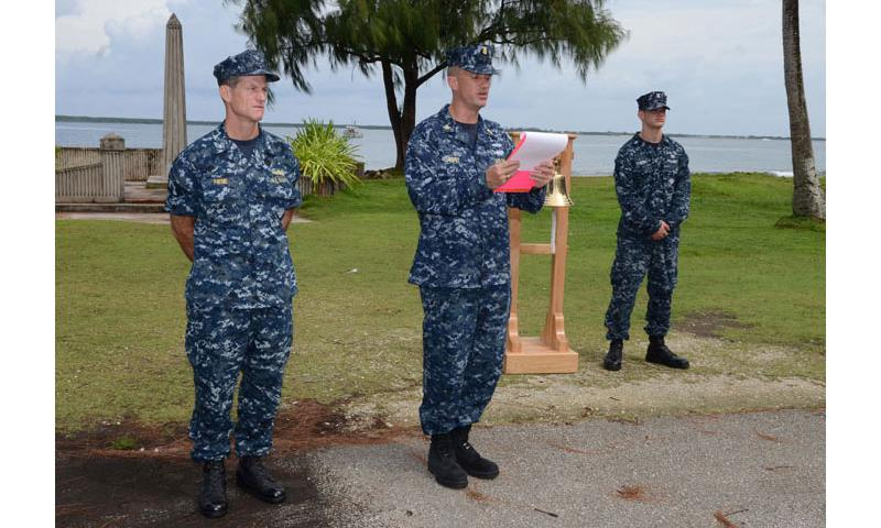 121012-N-BK435-003 SANTA RITA, Guam (Oct. 12, 2012) Command Master Chief John Lawry delivers remarks during a bell ringing ceremony for the Navy's 237th Birthday at Gab Gab Beach at U.S. Naval Base Guam. (U.S. Navy photo by Mass Communication Specialist 2nd Class Jeremy Starr/Released)