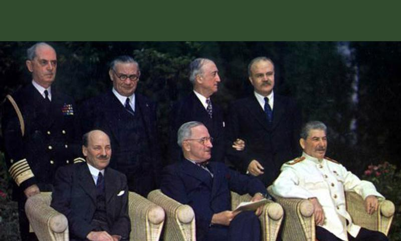 The Big Three, left to right, at Potsdam: British Prime Minister Clement Attlee, U.S. President Harry S. Truman and Soviet Premier General Joseph Stalin. Standing in the back row are, left to right, Adm. William Leahy, Ernest Bevin, James F. Byrnes and Soviet Foreign Minister Vyacheslav Molotov.  U.S. Army Signal Corps/Harry S. Truman Library