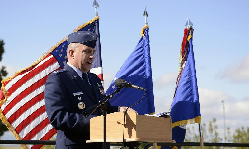 Col. Marcus Caughey speaks at Schriever Air Force Base in Colorado. 	 Christopher DeWitt /U.S. Air Force