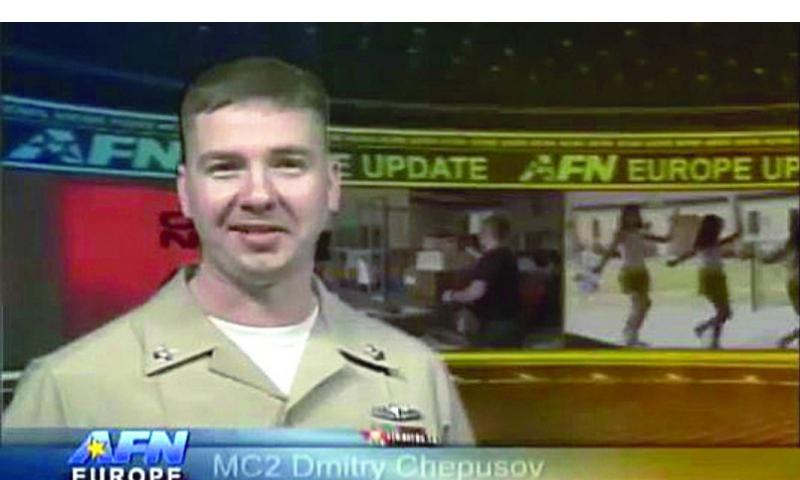 Video screen grab of Petty Officer 2nd Class Dmitry Chepusov, a Navy broadcaster for the American Forces Network Europe, who was found dead in a vehicle in Kaiserslautern, Germany, on Saturday, Dec. 14, 2013. AFN VIDEO