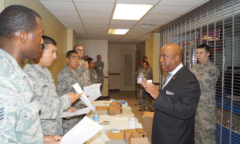 Andre Johnson 36th Medical Group Drug Demand Reduction program manager, discusses urinalysis procedures with Andersen Airmen Sept. 2, 2014 on Andersen Air Force Base, Guam. Andersen has increased testing and unit sweeps to meet the Department of Defense's heightened testing requirements. (Courtesy photo)
