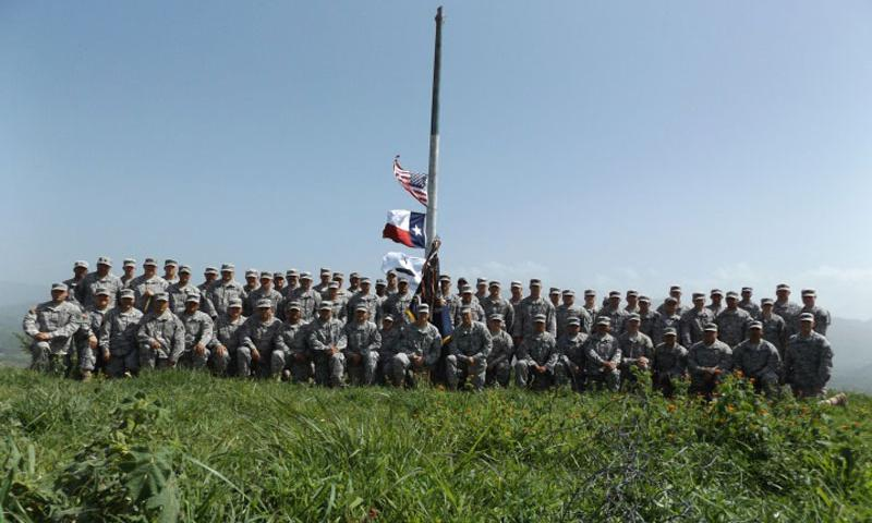 Members of the 3rd Battalion, 141st Infantry Regiment, Task Force Salerno, Texas National Guard conducted border security, drug interdiction, and intelligence training from May to June 2015, in Jutiapa, Guatemala. U.S. Air Force 1st Lt. Irene Mitchell, 36th Medical Group Readiness Flight commander, joined the unit as a Spanish translator with the Language Enabled Airman Program. (Courtesy photo)