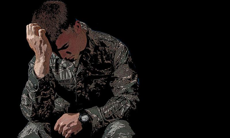 Servicemembers can experience PTSD even when they have not been in a combat situation. Complex PTSD involves exposure to a trauma that is either repeated exposure or a trauma perpetrated against an individual by someone who is in a trusting or care-giving position. (U.S. Air Force illustration by Alex Pena)