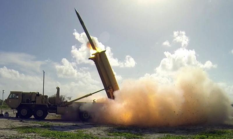 A Terminal High Altitude Area Defense (THAAD) interceptor is launched from a battery located on Wake Island during a flight operational test Nov. 1, 2015. The THAAD system successfully intercepted two air-launched ballistic missile targets during the test.    Ben Listerman/Missile Defense Agency