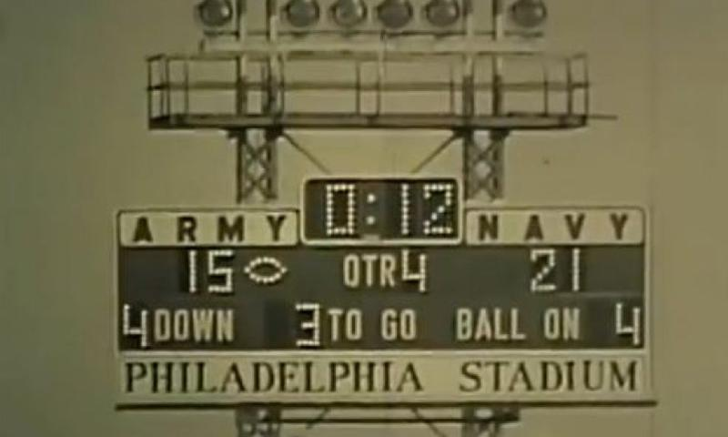 The scoreboard at Philadelphia Stadium in the final seconds of the 1963 Army-Navy football game.  Youtube/Screen