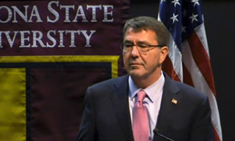 Secretary of Defense Ash Carter gives a speech at Arizona State University's McCain Institute on April 6, 2015. Carter's remarks remarks seemed designed to convince Americans, and perhaps more importantly, the country's Asian allies, of the American commitment to the so-called Asia pivot.  DOD screenshot
