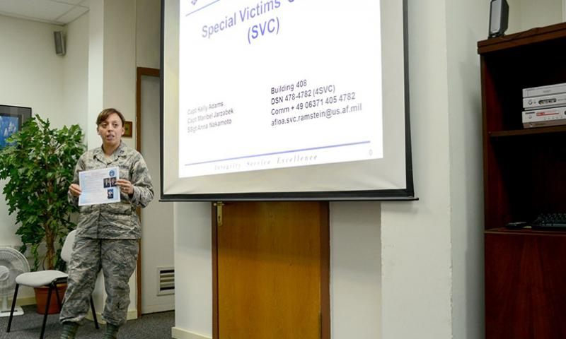 Capt. Maribel Jarzabek, Air Force Legal Operations Agency-Community Legal Services Victims, briefs Victim Advocates on legal right for sexual assault victims Aug. 15, 2014, Incirlik Air Base, Turkey. Jarzabek is a special victims' counsel who represents victims in the U.S. Air Forces in Europe and Air Forces Africa region, as well as deployed locations in Southwest Asia.