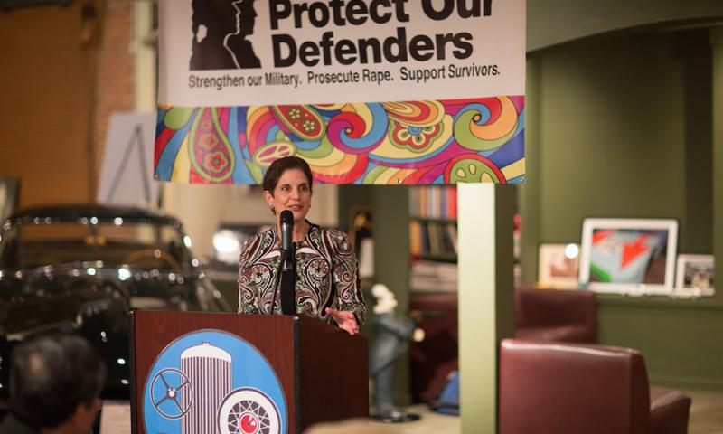 Nancy Parrish speaking at the first annual Protect our Defenders Justice Awards on Jan. 20, 2016 in Burlingame, CA. 	 Courtesy of Protect Our Defenders