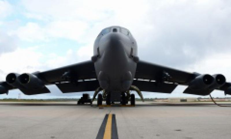 A U.S. Air Force B-52 Stratofortress bomber sits on the flightline April 14, 2016, at Andersen Air Force Base, Guam.