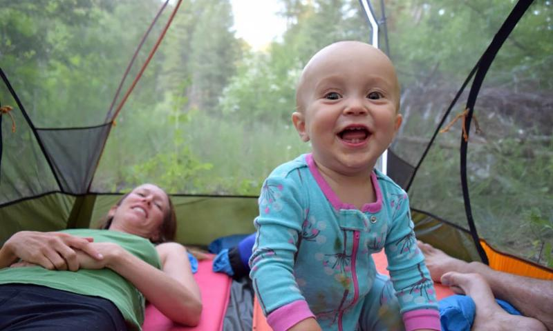 Talon in a tent in the Rattlesnake Wilderness, Mont.; camping gear creates hours of entertainment for babies. Rob Roberts