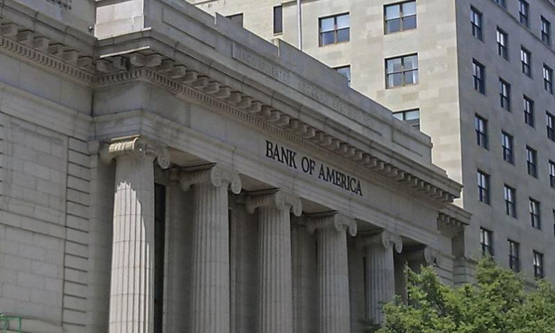 A Bank of America location in Washington, D.C.  Stars and Stripes