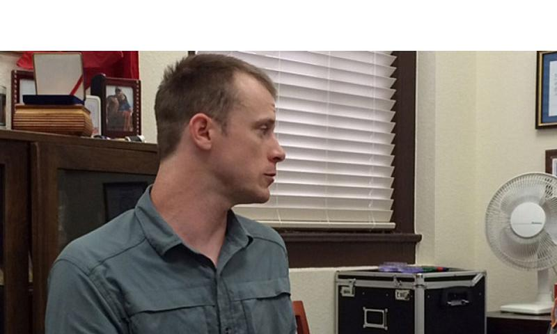 Sgt. Bowe Bergdahl prepares to be interviewed by Army investigators in August 2014.  Courtesy of Eugene R. Fidell/AP