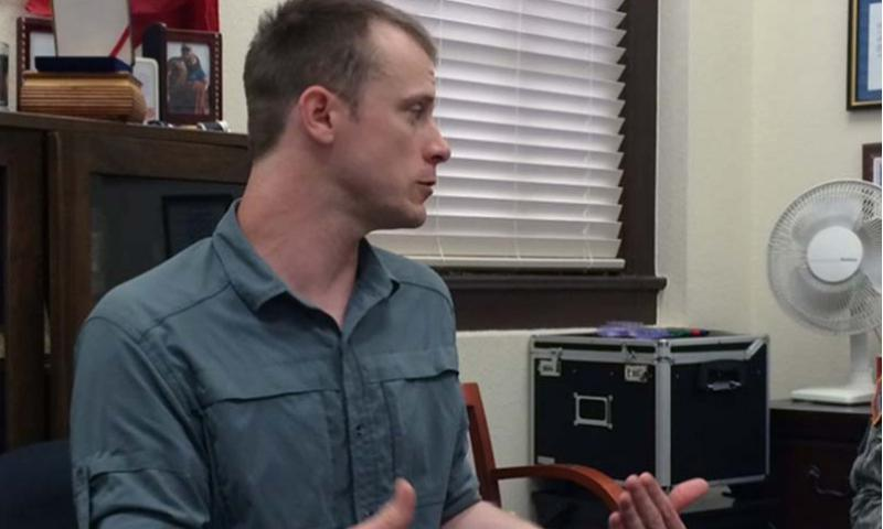 In this photo provided by attorney Eugene R. Fidell, Sgt. Bowe Bergdahl prepares to be interviewed by Army investigators in August 2014. COURTESY OF EUGENE R. FIDELL