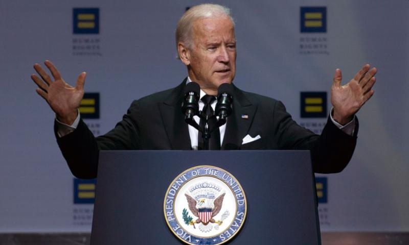 Vice President Joe Biden speaks during Human Rights Campaign National Dinner at Walter E. Washington Convention Center, in Washington, Saturday, Oct. 3, 2015.  Jose Luis Magana/Associated Press