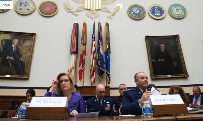 Christine Wormuth, Under Secretary of Defense for Policy, and Gen. Philip Breedlove, Commander, Supreme Allied Command Europe and U.S. European Combatant Command, listen to opening statements during a House Armed Services Committee hearing in Washington, Feb. 25, 2015. Joe Gromelski/Stars and Stripes