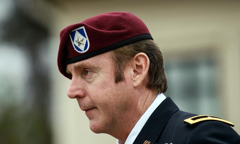Brig. Gen. Jeffrey Sinclair leaves the courthouse following a day of motions, on March 4, 2014, at Fort Bragg, N.C. JAMES ROBINSON, THE FAYETTEVILLE OBSERVER/AP