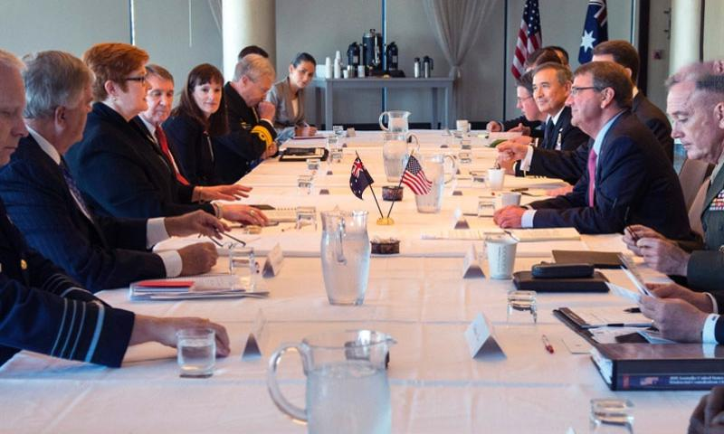 U.S. Defense Secretary Ash Carter meets with Australian Defense Minister Marise Payne during the Australia–United States Ministerial Consultations in Boston, Oct. 12, 2015. The two leaders discussed matters of mutual importance.     Adrian Cadiz/Department of Defense