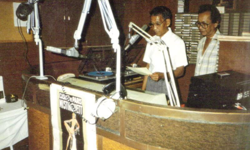"Back in the day: An archival photo shows DJ Jesus ""Chamorro"" Charfauros and his brother Ike Charfauros in the studio. Photo courtesy of BigBeat Guam"