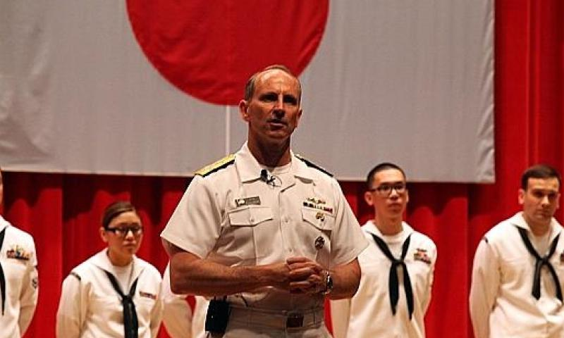 Chief of Naval Operations Adm. Jonathan Greenert speaks to a group of sailors in Yokosuka, Japan at a town hall meeting on May 10, 2013. Greenert said that while federal budget cuts have decreased the number of ships available for rapid response at the global level, the Navy has prioritized deployments and funding for the Asia-Pacific and Arabian Sea areas of operation. Trevor Andersen/Stars and Stripes