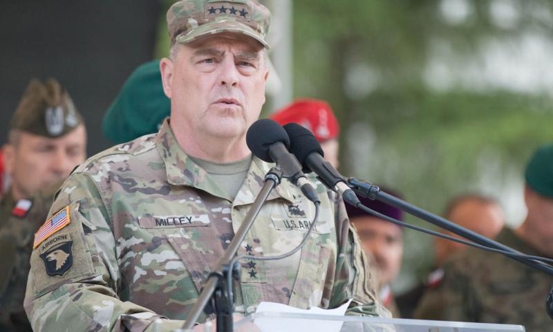 U.S. Army Chief of Staff General Mark A. Milley addresses a crowd of dignitaries, officials and military servicemembers at the National Defense University of Warsaw on Monday, June 6, 2016. Milley, along with U.S. Army Europe commander Lt. Gen. Ben Hodges were among the military officials representing the U.S. at the opening ceremony of the Polish-led multinational training exercise, Anakonda 16. Michael S. Darnell/Stars and Stripes