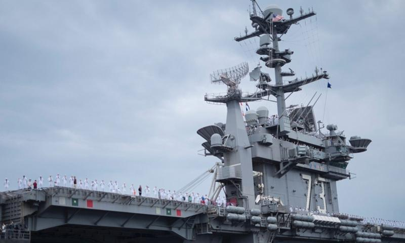 USS George Washington at Fleet Activities Yokosuka, Japan, Aug. 8, 2014. The aircraft carrier returned to its Japanese host city after spending almost 4 months at sea. JAMES KIMBER/STARS AND STRIPES