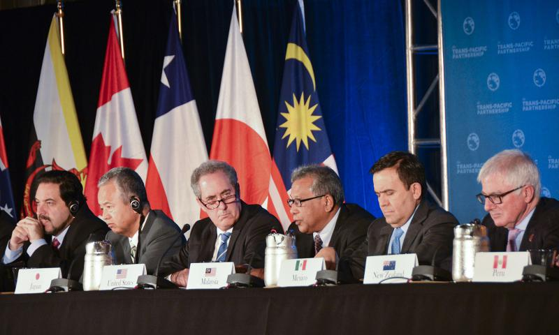 Trade ministers of the United States and 11 other Pacific Rim countries attend a press conference after negotiating the Trans-Pacific Partnership (TPP) trade agreement in Atlanta on Monday, Oct. 5, 2015. Gao Pan, Xinhua/Zuma Press/TNS