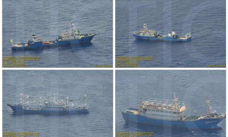 This combination of Sept. 3, 2016 photos provided by the Philippine Government shows what it says are surveillance pictures of Chinese coast guard ships and barges at the Scarborough Shoal in the South China Sea. China has built seven such islands in the disputed, resource-rich sea, alarming neighbors and rival claimants, including the Philippines. Philippine Government via AP