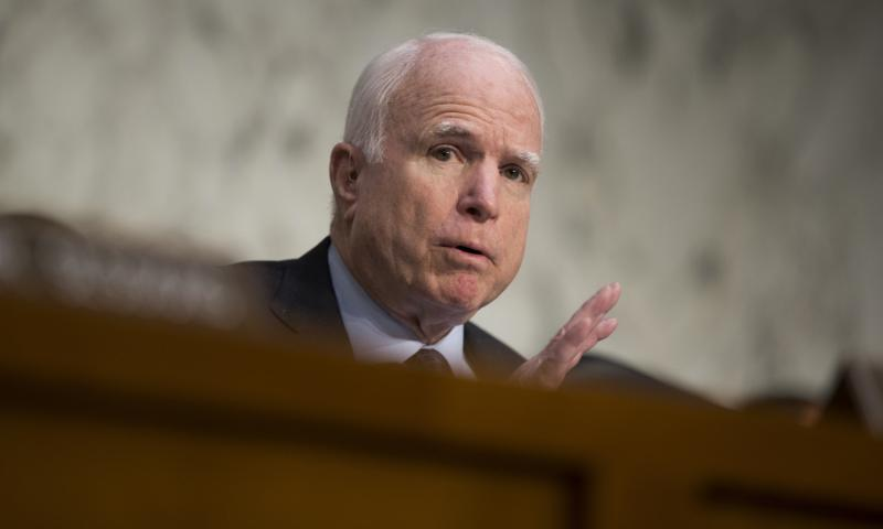 In this April 28, 2016 file photo, Sen. John McCain, R-Ariz. speaks on Capitol Hill in Washington. Defense Department officials pressed McCain, R-Ariz., chairman of the Senate Armed Services Committee, for a change to a Senate proposal to limit veteran preference to a single use. Evan Vucci/AP