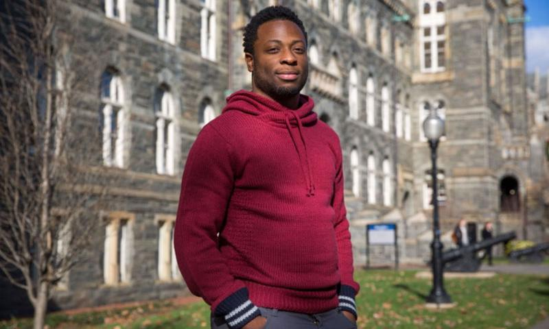 Georgetown University senior Ben Brooks is one of the students benefiting from the donation to the Marine Corps Scholarship Foundation. EVELYN HOCKSTEIN / THE WASHINGTON POST