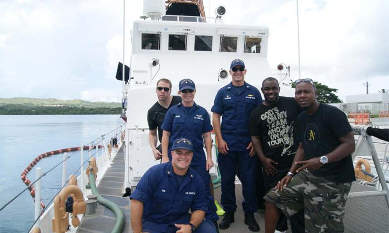 Santa Rita, GU — Comedians Daniel Dugar, Gary Owen, and Rodney Perry stopped by Sector Guam, and took a tour of Coast Guard Cutter ASSATAGUE and Station Apra Harbor.