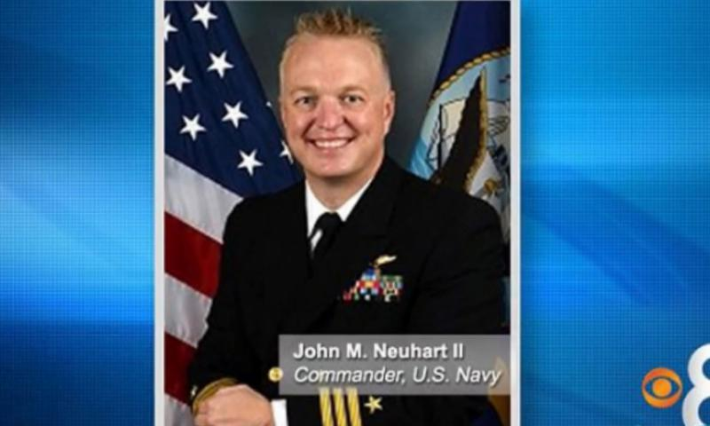 Cmdr. John Michael Neuhart II entered his plea in a San Diego court on Monday to attempted sexual assault charges and a burglary charge. NDN Video still image