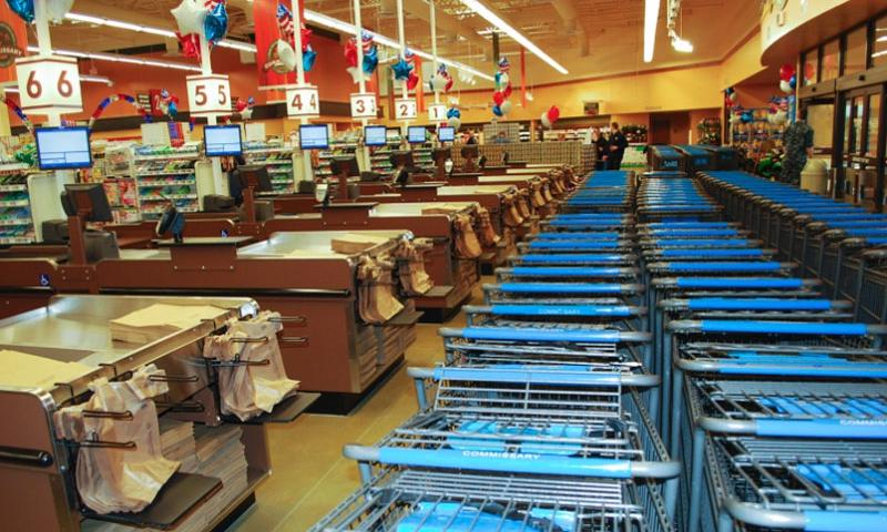 Empty shopping carts and checkout registers await commissary patrons hours before the grand opening of a new store at Naval Submarine Base New London, Conn., April 16, 2014.  Kevin Robinson/Defense Commissary Agency