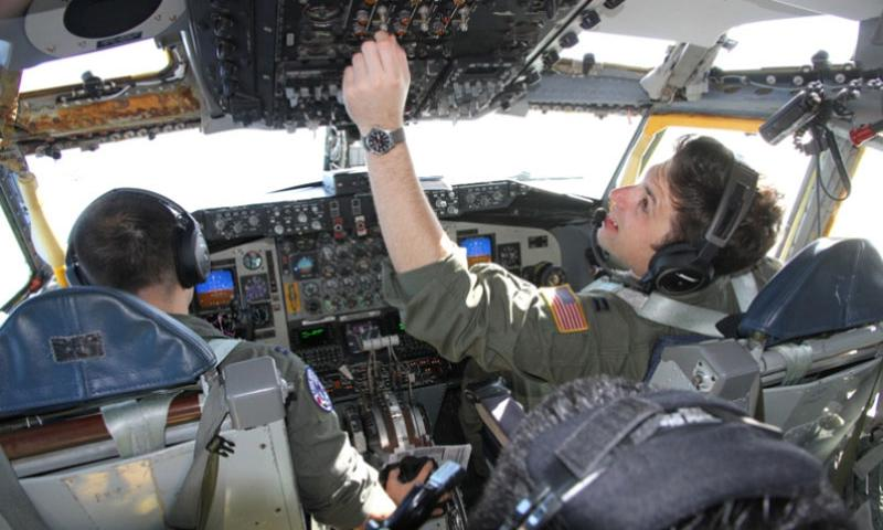 Capt. Dane Arnholt prepares a KC-135 Stratotankerfor a mission Feb. 19, 2016, during the Cope North exercise in Guam.    Wyatt Olson/Stars and Stripes