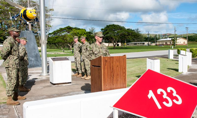 SANTA RITA, Guam (Aug. 15, 2014) – Lt. Cmdr. Luke Cowley, officer-in-charge, Naval Mobile Construction Battalion (NMCB) 133, offers remarks during a change of charge ceremony at Camp Covington on U.S. Naval Base Guam in Santa Rita Aug. 15. During the ceremony, NMCB 1 turned over duties to NMCB 133. (U.S. Navy photo by Shaina Marie Santos)